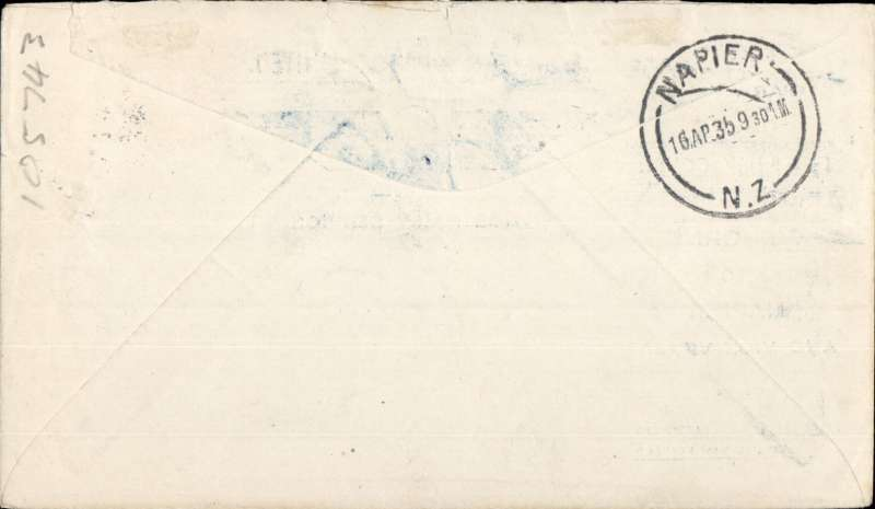 (New Zealand) East Coast AW, F/F Gisborne to Napier, b/s 16/4, official printed registered (label) souvenir cover franked 3d.