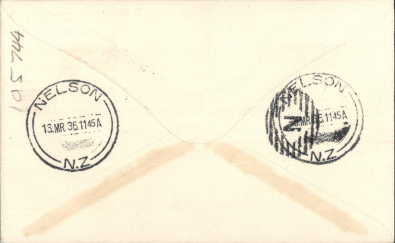 (New Zealand) Union Airways of New Zealand F/F Wellington-Nelson, bs 16/3, plain cover franked 2d.