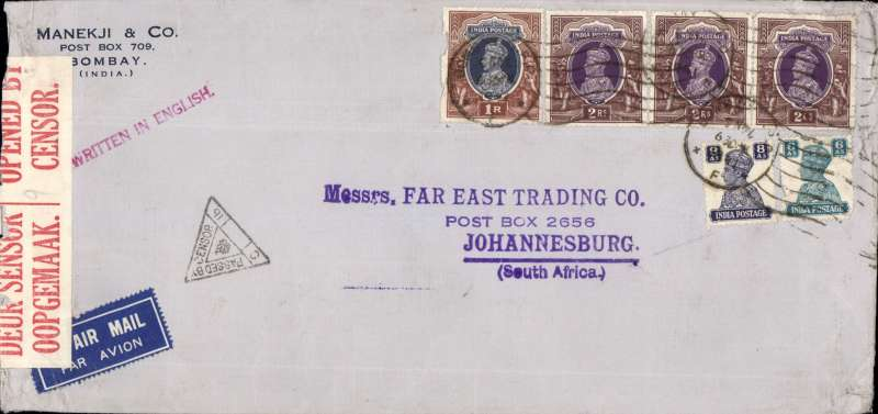 (India) WWII high franked censored airmail from Bombay to Johannesburg, carried from Bombay to Karachi by Indian National Airways and from Karachi to Johannesburg by BOAC over the emergency Horseshoe Flying Boat Route established after Italy entered the War in June 1940. Airmail etiquette commercial corner cover, 24x11cm, sealed red/white ISouth Africa censor tape, black India triangular censor mark, red 'Written in English' hs, franked  7R (KGVI  2Rx3 and 1R) + 14 annas.  Correctly franked 112 annas for inclusive x7 weight franking.