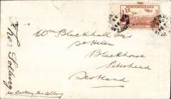 (Newfoundland) Thor Solberg, Cartwright to Norway, bs Bergen 16/VIII/35, plain cover franked 5c, canc Cartwright Jul/22/35. One of a small number mailed unofficially from Cartwright, and signed by the pilot Thor Solberg. 1cm non invasive closed top edge tear, see scan.