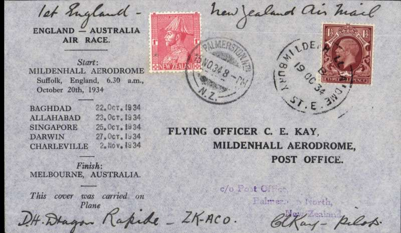 "(GB External) MacRobertson Air Race, England-Australia, Mildenhall  depart cds, Palmerston arrival 15/11 cds on front, official black/grey printed cover carried by Hewitt, Kay and Stewart in Dragon Rapide ""Tanui"", signed by CE Kay."