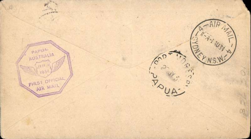 """(Australia) Sydney to Lae, b/s 27/7, and return, flown by Ulm in """"Faith of Australia"""", Australia and New Guinea cachets, franked Australia (inc SG 139) and New Guinea stamps, latter canc 26/11 for return, Sydney 1/8 arrival ds, official """"boomerang"""" cover."""