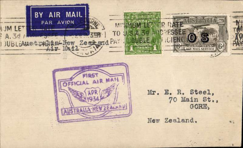 """(Australia) """"Faith in Australia"""", first official airmail Australia-New Zealand, bs Cheistchurch 12/4,  plain cover franked 9d (inc SG 139a cat £55 used) canc Melbourne machine cancel, violet winged """"First Official Air Mail/ Australia-New Zealand"""" cachet."""