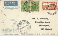 (New Zealand) Sixth Trans Tasman crossing of VH-USU, Kaita to Sydney, franked 7d air +2d canc Melbourne cds,  Kaita souvenir 2 MR 34 cachet,  bs Sydney 29/3, blue/white registered (label) souvenir cover, .