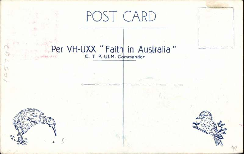 (Australia) Faith in Australia air mail flight, Australia to New Zealand, souvenir postcard printed in blue, did not go through the post but impressed with dated cachet confirming time and date of arrival and departure, and signed by CTP Ulm and GU Allen.