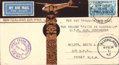 "(New Zealand) CP Ulm, First official mail, New Zealand to Australia, bs 17/2, franked 7d ""Trans Tasman"" opt, special cachet, attractive cream/brown totem/ and monoplane NZ Airmail cover,"
