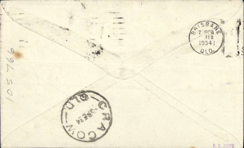 """(Australia) Aircrafts Pty Ltd, F/F Brisbane to Cracow, bs 3/2, plain cover franked 5d, typed """"First Brisbane to Cracow""""."""