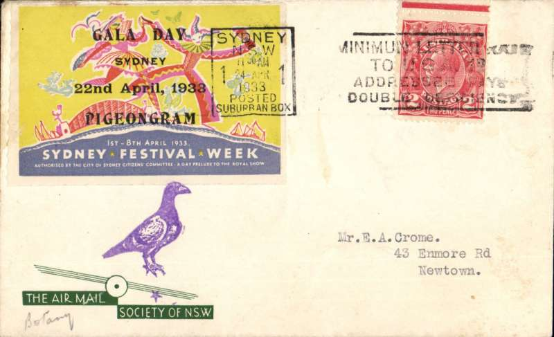 """(Australia) Commemoration of Australia's first pigeongram, a message carried by homing pigeon from Sydney Showground, AMS of NSW souvenir cover posted Sydney 24/4/1933 with pigeongram vignette tied by purple """"Pigeon"""" cachet."""