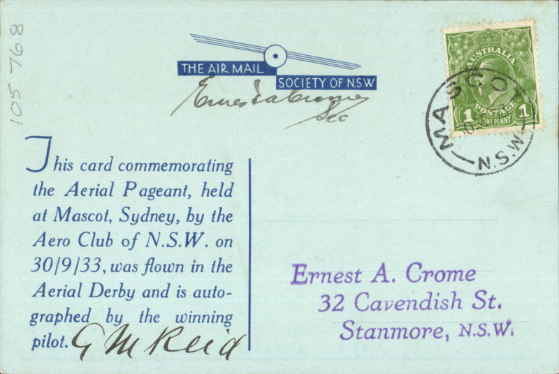 (Australia) Aero Club of New South Wales, Mascot Aerial Derby, blue souvenir card canc Mascot cds and signed by the winner of the Derby, GM Reid.