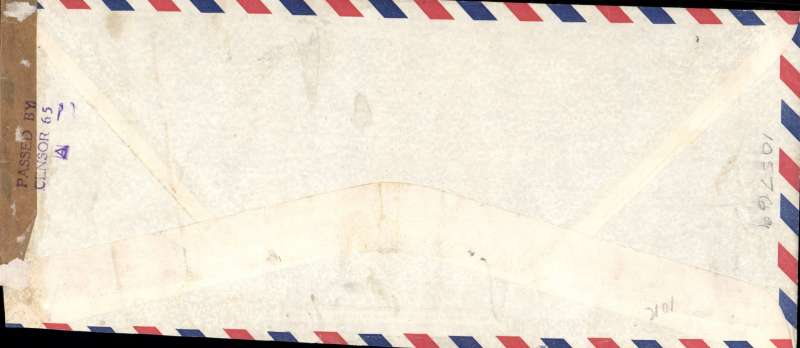 (Philippines) F/F FAM 14, Manila to Singapore, green F/F cachet, Singapore censored airmail cover, Pan Am. Ironed vertical crease, barely visble, see scan