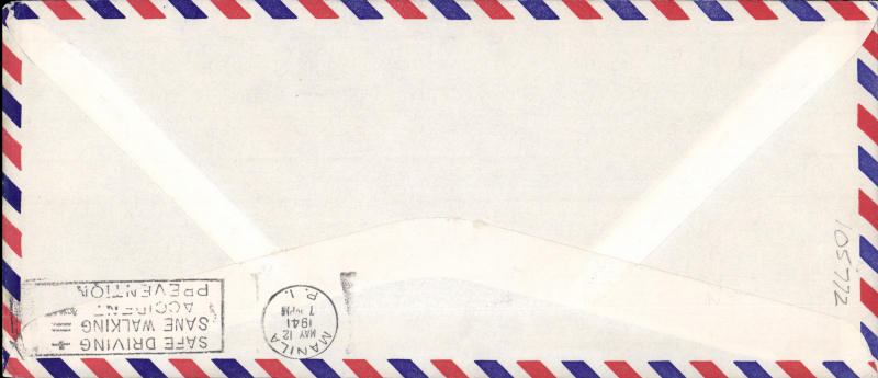 (Singapore) Trans Pacific extension to Singapore, F/F FAM 14, Singapore to Manila, cachet, b/s, violet triangular Singapore censor mark, official long cover, Pan Am.