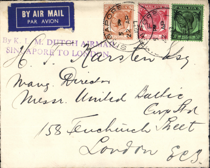 (Singapore) Singapore to London, commercial flight, front only, franked 60c, fine strike uncommon two line 'By K.L.M. Dutch Airmail/Singapore to London'
