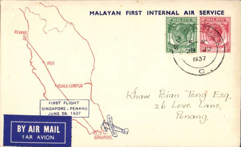 (Singapore) First internal airmail, Singapore to Penang, b/s, uncommon printed souvenir cover shhwing map of route, Wearne's Air Services