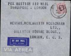 (Singapore) Singapore to London, carried IAW westbound service IW 301, Arethusa to Karachi, Helena to Baghdad, Satyrus to Brindisi and Heracles to London, attractive etiquette cover franked 25c, bold 'Per Brtish Airmail/Singapore-London'.