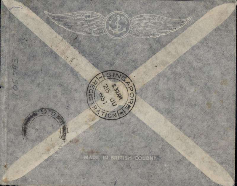 (Singapore) First internal airmail, Singapore to Penang, bs, uncommon printed blue/grey reg (label) Wearne's AW souvenitr cover, franked 1937 Straits Asettlements Coronation set of three and 'Singapore-Kuala Lumpur-Penang' printed in blue..