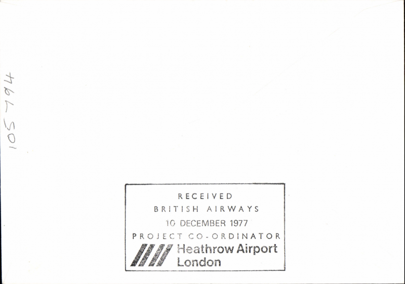 (Singapore) CONCORDE F/F to London, arrival ds verso, BA/Singapore AW.