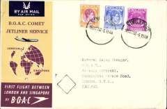 (Singapore) F/F  Singapore to London, b/s, official Comet 1 cover, BOAC