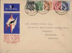 (Singapore) Imperial Airways/Qantas, F/F Singapore to Brisbane, carried on first regular weekly service UK-Australia, correctly franked Straits Settlements 25c, red/white/blue kangaroo souvenir vignette and imperforate airmail etiquette, flown Athena to Darwin and Hippomenes to Brisbane.