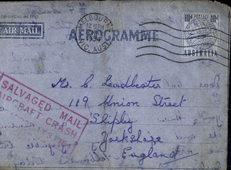 "(Recovered/Salvaged Mail) BOAC Lockheed Constellation crash at Singapore, en route from Australia to England, imprint etiquette air letter, franked 10d, canc 12 Mr 54 cds, red boxed ""Salvaged Mail/Aircraft Crash/Singapore 13.3.1954"" cachet, Ni 540313aa."