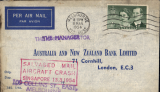 "(Recovered/Salvaged Mail) BOAC Lockheed Constellation crash at Singapore, en route from Australia to England, imprint etiquette bank cover, franked 2/-, canc 11 Mr 54 cds, very fine red boxed ""Salvaged Mail/Aircraft Crash/Singapore 13.3.1954"" cachet, Ni 540313aa."