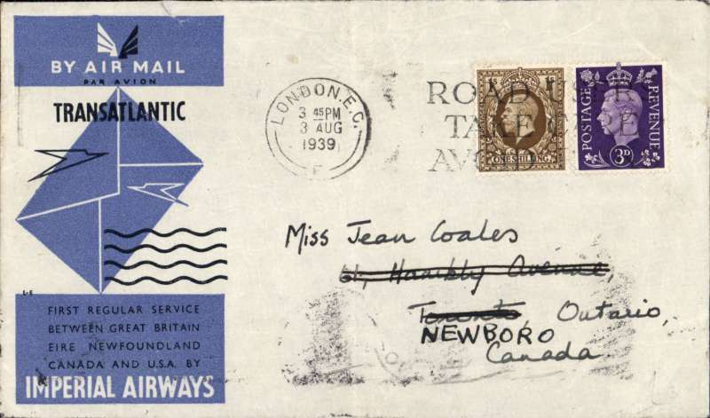 (GB External) F/F North Atlantic Service, Southampton to Montreal, b/s(7/8), official cover, Imperial Airways. Ironed vertical crease, see scan.