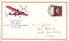 """(GB Internal) Scottish Airways, First Regular North Ronaldshay Airmail, Kirkwall to North Ronaldshay, bs 31/7, red/blue/ivory Orkney Herald Type I cover """"Inauguration Of/Thrice Weekly/Air Mail/North Ronaldshay to Kirwall/31st July 1939"""", franked 1 1/2d, canc North Ronaldshay cds, black/yellow/grey """"Scottish Airways/Go By Air"""" vignette verso. Only 100 Type 1 covers were printed, see Redgrove p134.  A fine example."""