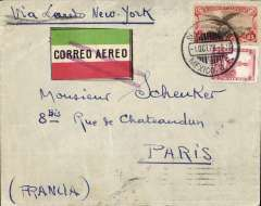 """(Scarce and Unusual Routings) Commercial first flight, MEXICO  CITY - PARIS', via Nuevo Laredo ( Mexican Border), 2/10,  transferred to Laredo (Texas  Border), 3/10. flown  via Dallas - Atlanta - Washington  to New York,  Mexican airmail label cancelled by unframed violet double  bar JUSQU'A  applied  at  Varick Street   Foreign Exchange Office New  York 5/10,  on  by  Mail  Steamship  Service to  Europe (see Mc Queens  book  on """"JUSQU'A  MARKINGS """" list's this type first seen  from  1929  to 1932.), official F/F cachet verso. Full description of route with confirmatory transit cancellations."""