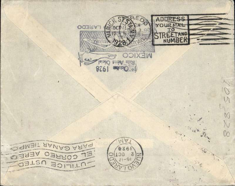 """(Scarce and Unusual Routing) Commercial first flight, MEXICO  CITY - PARIS', via Nuevo Laredo ( Mexican Border), 2/10,  transferred to Laredo (Texas  Border), 3/10. flown  via Dallas - Atlanta - Washington  to New York,  Mexican airmail label cancelled by unframed violet double  bar JUSQU'A  applied  at  Varick Street   Foreign Exchange Office New  York 5/10,  on  by  Mail  Steamship  Service to  Europe (see Mc Queens  book  on """"JUSQU'A  MARKINGS """" list's this type first seen  from  1929  to 1932.), official F/F cachet verso. Full description of route with confirmatory transit cancellations."""