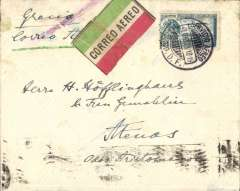 (Scarce and Unusual Routings) MEXICO - GREECE; Single Line 55  mm   UN-  Framed   Bar  in purple used  as  an  air cancel by  the   exchange office  at  ' Varick Street' New York  City on mail  carried on internal &  external   airmail before despatch across  the Atlantic  or   elsewhere by  steamship, a most  unusual type,  listed by Mc Queen first  seen  used in  1930, this air mail letter sent  to   Greece in 1929. Flown  from   Mexico  City by    F. A. M. 8 ' service, route - Mexico City-Tampico- Brownsville-Dallas-Atlanta-New York.' Air Mail  &  Surface  Postage charged at 35 Cent  per  1/2 ounce  letter,  small circular Athens postman's mark verso.