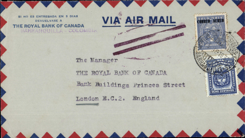 """(Colombia) COLOMBIA - UNITED KINGDOM; Commercial air mail sent from The Royal Bank of Canada at Barranquilla to there bank in London, flown by the air service from Barranquilla via Jamaica - Miami - Atlanta - Washington to New   York on    Pan  American  Airways F, A. M. 5   air route, VIA  AIR   MAIL """" cancelled by the  JUSQU'A double bar  cachet in an oval circle at the Varick Street Office for Foreign Air Mail in New  York. McQueen lists the double  bars as  shown used  between the years '1930 - 32 in  his book on this subject, without the oval circle surrounding the two bars. New  York departure, mail sent by the first available Steam Ship to the United Kingdom. Air Mail  & Surface  Postage Rate, charged 30 centavos air rate, & 8 centavos surface rate to the United Kingdom."""