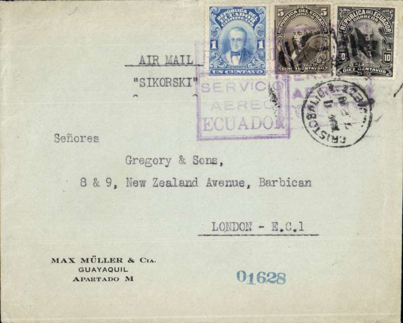 """(Scarce and Unusual Routings) Commercial South American """"P. A. G. A. I. """"  airmail Ecuador , Guayaquil, early commercial example of FAM 9 mail  flown by Pan American Grace Airways lnc. demonstrated  by  the very  scarce violet  boxed  ' P.A.G.A.1 cachet,  used  on  genuine  commercial mail, first introduced  for use  on air  mail on  the   5th of  May 1929.  Letter from Guayaquil  to Cristobal  Canal  Zone )  by a  """"  SIKORSKY. S. 383. - seaplane,  transferred to Steam Ship  service from  Colon  to Southampton, then  by  railway service   to London.  Airmail & surface postage, charged at 16 centavos per  10 grams from   Ecuador  to Cristobal [Canal   Zone)  to the  United  Kingdom."""