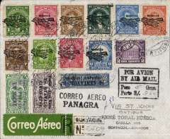 (Scarce and Unusual Routings) First flight South American Panagra air mail Ecuador-Antgua 1930; Guayaquil - St John's 5/9, registered flight cover departed Guayaquil the 25th of August 1930, carried on FAM 9 air service via Port  of Spain- Trinidad connecting with FAM 6. Air service  via St John's to Miami. From Miami  flown on to New  York, journey  time  25 days.  Returned letter flown  on  FAM 8. Service to Cristobal in  the Canal Zone, connecting with FAM 9. South  American   service from Cristobal  to Guayaquil,  return journey time of 17 days. Registered Air  Mali &    Surface Postage  Rate,  charged  at  3Su   60c for the  5  gram letter. Beautifully presented cover with full documentation of route.