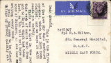 (GB External) WWII, first flight new wartime airmail postcard service to forces serving in the Middle East.