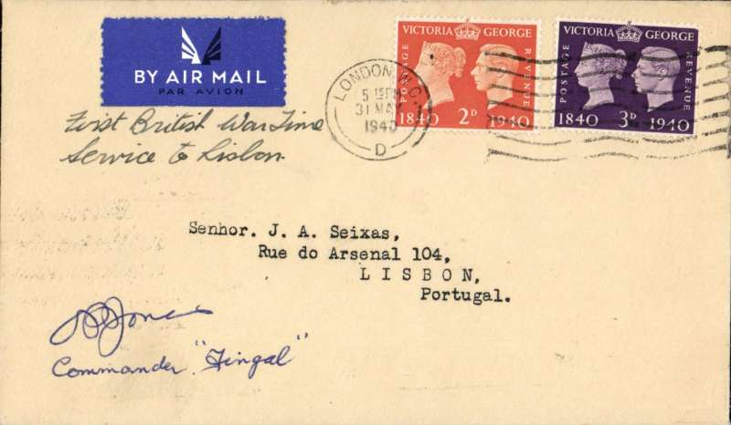 (GB External) World War II, London to Lisbon, bs 5/5, on F/F BOAC from England to link up with the Pan Am trans Atlantic clipper service from Lisbon to New York.. Flown in a De Haviland plane 'Fingal' (Frobisher Class), and signed by the pilot Commander O.P.Jones..
