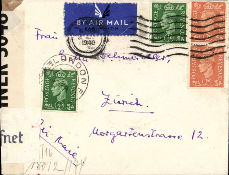 (GB External) Dual censored WWII airmail from London to Zurich, via Lisbon where airmail label annulled by Lisbon 22 May 43 cds for onward  transmission by rail. Plain cover franked 5d, sealed by GB and German censors, verso black German censor mark applied on arrival in Paris, and red censor mark to clear forwarding to Switzerland. Written in hungarian.