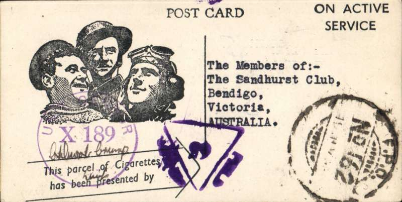 (Ephemera) A thank you card, c1943,  from 'the Boy's in S.E.A.C', for the donation of a carton of cigarettes form  sent by the Overseas League Tobacco Fund.  S.E.A.C (theSouth East Asia Command ) was the body set up to be in overall charge of Allied operations in the South-East Asian theatre during World War II.