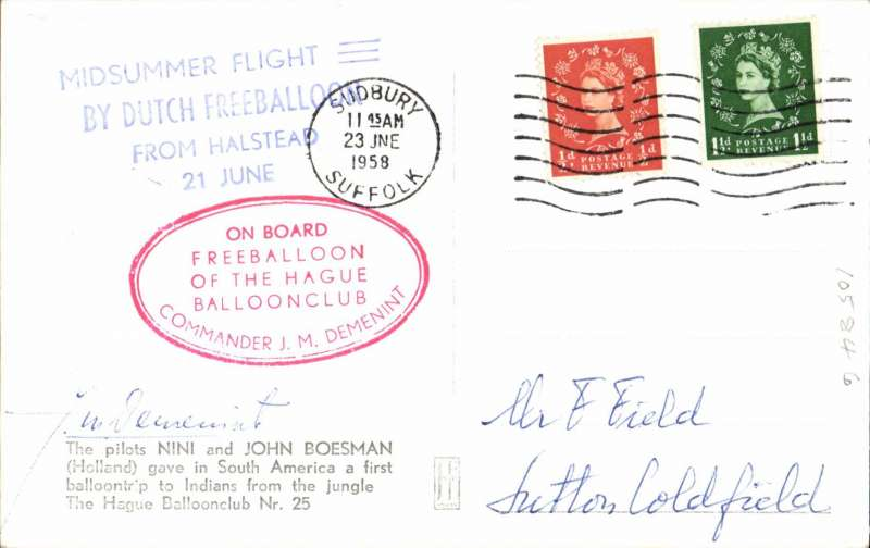 (Netherlands ) Midsummer flight by the Dutch Free balloon club from Halstead, posted Sudbury, signed by the pilot J M Demeni.