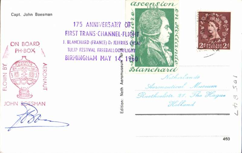 (Netherlands ) PPC commemorating the 175th anniversary of the 1st cross  Channel flight, carried on board the PX-BOX balloon, posted in Birmingham, signed by the pilot John Boesman. Verso fine head and shoulders phot of the pilot,