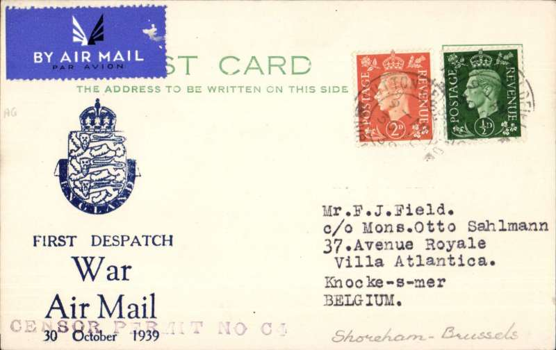 """(GB External) First airmail service during WWII, Shoreham to Belgium, no arrival ds, correctly rated 2 1/2d for PC, cancelled Sutton Coldfield cds, special printed card with logo and """"First Despatch/War Air Mail/30 October 1939"""", cancelled by violet st line """"Censor Permit No C4"""" censor mark, Francis Field authentication hs's x2 verso. On the outbreak of war flights over the east of England and Scotland were prohibited by the Air Navigation (Restriction in Time of War) Order 1939, and operations were moved from Croydon to Shoreham. The service was suspended when Germany invaded Norway in April 1940. A copy of a six page A4 article on the airmail services at Shoreham on the outbreak of WWII, is included with this item."""