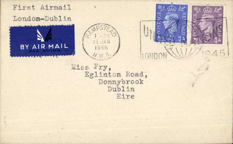 "(GB External) Very scarce first direct airmail with a fascinating history. London to Dublin, airmail etiquette cover franked 5 1/2d, typed 'First Airmail/London-Dublin'. Recorded in Stroud  ""15 January (1946) West Coast Air Services began carrying mail on its Liverpool-Dublin services"". The press announced that the service was starting on January 9th but there was no official announcement because GPO claimed it was only a temporary replacement of a similar service withdrawn at short notice (a 200 word explanatory article accompanies this item). No covers are known posted on 9/1, hence Stroud's entry of 15/1 for the start of the service.  Also see Hansard 24 July 1946 vol 426 c19, ""West Coast Air Services Ltd (WCAS) is one of several companies which are operating certain services under an agreement with the Minister of Civil Aviation, the Associated Airways Joint Committee (AAJC) acting as agents. It was arranged with AAJC that WCAS Ltd, should cease to operate the Liverpool?Dublin and London?Dublin services on 1st July, 1946."