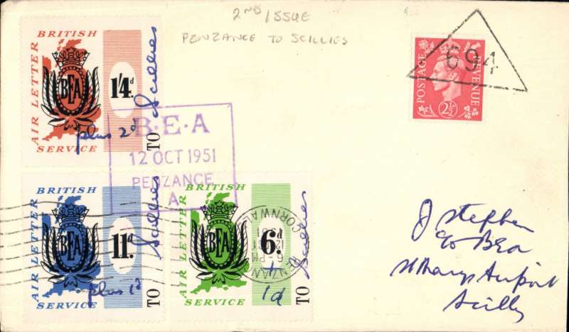 (GB Internal) London Provisional Issue, Penzance to Isles of Scilly, franked 6d,  11d, 1/4d, second issue price increase noted by hand - plus 1d, 1d, 2d respectively, all tied by violet boxed 'BEA/12 Oct 1951/Penzance, also GB KGVI 2 1/2d tied black triangular '694' hs. See scan.