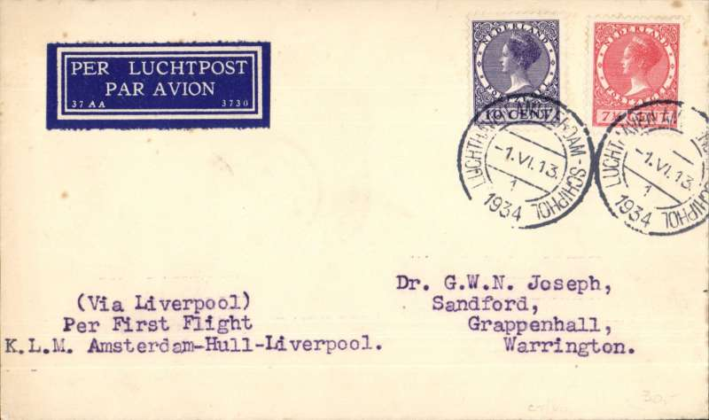(Netherlands) KLM F/F 7th GB Inland Airmail Service, Amsterdam-Liverpool, bs Warrington 2/6, plain cover franked 1 1/2c, canc Amsterdam type 1 cds, airmail etiquette. cover franked 17 1/2c.