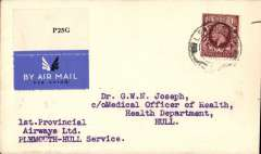 """(GB Internal) Provincial Airways Ltd Plymouth to Hull service, airmail etiquette cover franked 1 1/2d, canc Leicester 1 Apr 35, typed '1ST PROVINCIAL /AIRWAYS LTD/PLYMOUTH-HULL SERVICE'. Not listed in Baldwyn, so date of first service is difficult to confirm. The  only references we could find were Stroud  """"1935, March 4, Provincial Airways began Hull-Grimsby-Nottingham-Leicester-Southampton to connect with Croydon-Plymouth service"""", also https://en.wikipedia.org/wiki/Provincial_Airways.  A scarce item and one for the exhibit."""