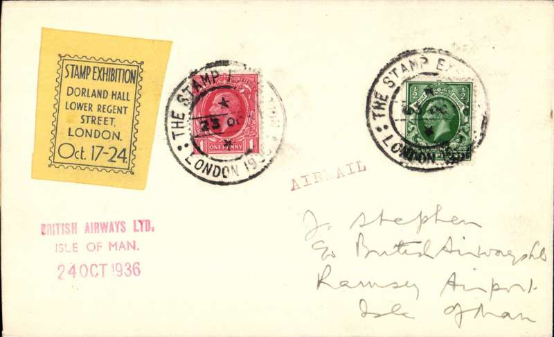 "(GB Internal) Blackpool & West Coast Air Services (United AW), Stamp Exhibition London to Isle of Man, plain cover franked 1 1/2d tied good strikes Stamp Expo London 1936/23 Oct cds, black/yellow Expo vignette, red three line 'British Airways Ltd/Isle of Man/24 Oct 1936"" hs. Uncommon."