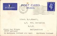 (GB Internal) Railway Air Services first wartime airmail Liverpool to Belfast for the carriage of surcharged mail. Etiquette CARD franked 2 1/2d canc Caernarvon 31 Aug 1941 cds, typed 'First Day Flight/Great Britain/ toNorthern Ireland/Air Mail'. Sent by rail to Speke airport and flown in a Dragon Rapide DH 89 G-AFFF by a pilot released from the RAF. The service qualified for an Air Ministry subsidy and the GPO bore the cost less the amount of the subsidy and revenue from passengers who were carried subject to space allowed by the mail. See Railway Air Services, John Stroud, 1987. Cards are scarcer. Great item for the exhibit.