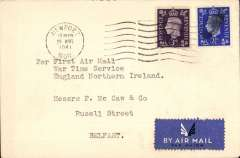 (GB Internal) Railway Air Services first wartime airmail Liverpool to Belfast for the carriage of surcharged mail. Etiquette cover franked 3d canc Caernarvon 31 Aug 1941 cds, typed 'Per First Air Mail/War Time Service/England Northern Ireland''. Sent by rail to Speke airport and flown in a Dragon Rapide DH 89 G-AFFF by a pilot released from the RAF. The service qualified for an Air Ministry subsidy and the GPO bore the cost less the amount of the subsidy and revenue from passengers who were carried subject to space allowed by the mail. See Railway Air Services, John Stroud, 1987. Great item for the exhibit.