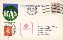 (GB Internal) Railway Air Services F/F wartime airmail service, Liverpool to Belfast, 2/2 arrival cds, for the carriage of surcharged mail. Etiquette CARD franked 5d canc Birmingham 31 Aug 1941 cds,  large green 'RAS/1 September 1941' cachet, red hexagonal GB censor mark.. Sent by rail to Speke airport and flown in a Dragon Rapide DH 89 G-AFFF by a pilot released from the RAF. The service qualified for an Air Ministry subsidy and the GPO bore the cost less the amount of the subsidy and revenue from passengers who were carried subject to space allowed by the mail. See Railway Air Services, John Stroud, 1987.