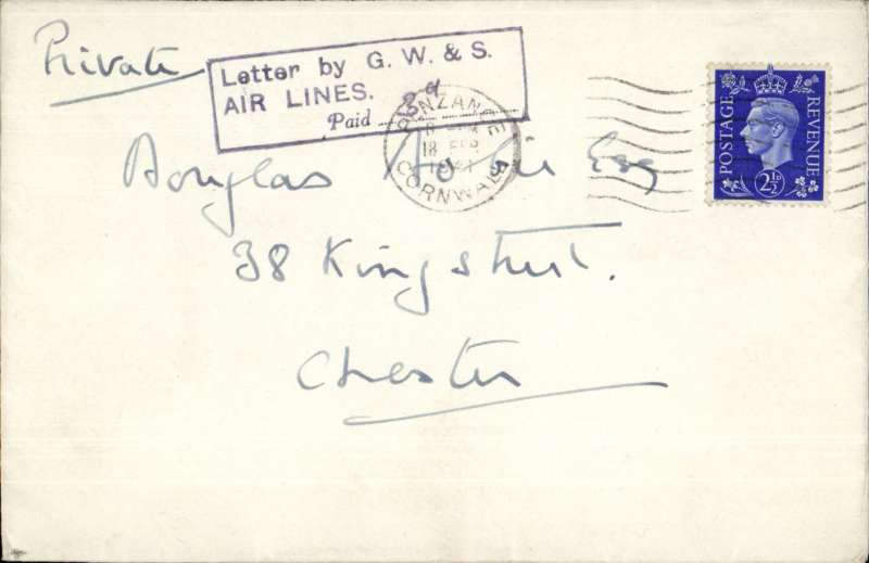 """(GB Internal) Great Western & Southern Airlines air letter service to accommodate the extra number f service personnel based on the islands, Scilly to Penzance, plain cover franked 2 1/2d canc Penzance 18/2/41 cds tied by black rectangular """"Letter By BEA/PAID (ms).........3d"""" airmail surcharge (3d much scarcer)."""