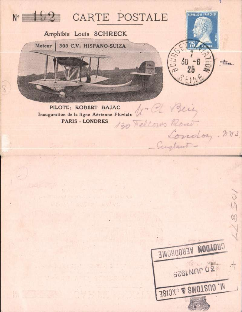 (France) EXPERIMENTAL OUTWARD AND RETURN FLIGHTS on behalf of the French Air Union by R. Bajac from Paris (Seine) to London (Thames) and return, special illustrated cards flown on each leg, franked France 75c tied by Bourget Aviation cds, on reverse 'H.M.CUSTOMS & EXCISE/CROYDON AEROPLANE' cachet, the other  franked 1½d and 2d (tiny top rk corner perf nibble - see scan) tied by Waddon Aerodrome cds, and France 20c Postage Due affixed upon arrival and with Paris arrival markings on reverse, both cards signed 'R. Bajac'. Fine and scarce as a pair (Newall 25.11a/b). See verso for scan of GB return.