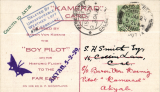 (India) GERMAN WORLD FLIGHT - CALCUTTA TO AKYAB; Feb. 1929 ?BARON VON KOENIG/BOY PILOT? PC to Calcutta franked India KGV ½a tied by Calcutta d.s., straight line 'Akyab, 5-2-29 confirmatory arrival hs, framed ?DELAYED BY/UNFAVOURABLE/WEATHER. LEFT/?5th? FEBRUARY? with a total of 41 covers flown. Rare. Signed (not facsimile) Stephen Smith 11/2/29.